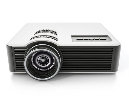 Generic projector isolated on white background. 3D illustration.