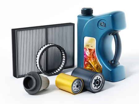Car engine oil, and filters isolated on white background. 3D illustration.