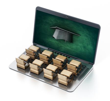 Student desks on laptop computer keyboard. 3D illustration.