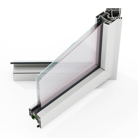 PVC window detail isolated on white background. 3D illustration.