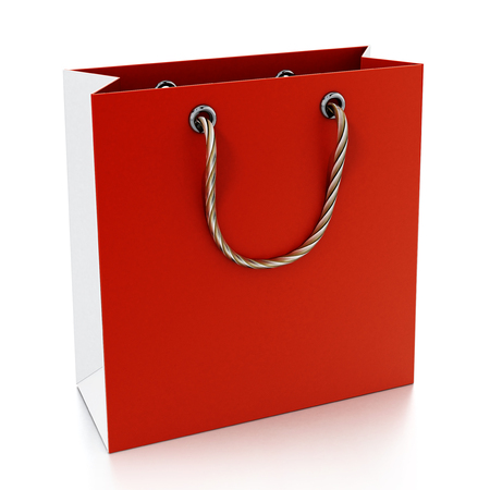 Red shopping bag isolated on white background. 3D illustration. Stock Photo