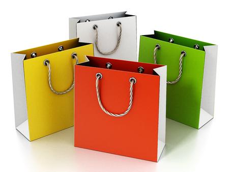 Colorful shopping bag isolated on white background. 3D illustration. Stock Photo