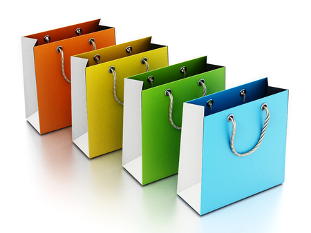 Colorful shopping bag isolated on white background. 3D illustration. Stock Photo