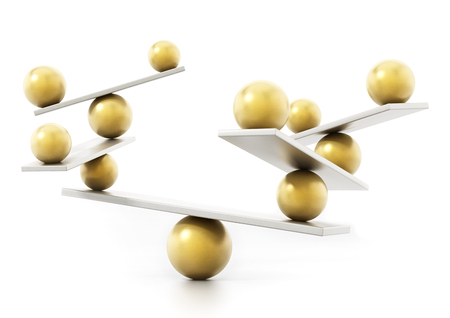 Balancing spheres standing in balance on seesaws. 3D illustration.