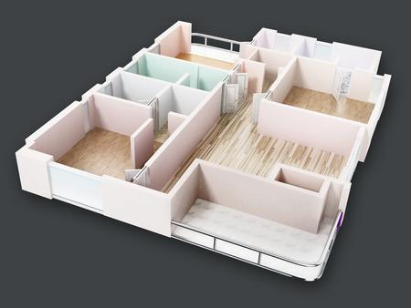 3D visualisation of a luxurious flat. 3D illustration.