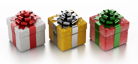 Christmas giftboxes with ornaments isolated on white background. 3D illustration.