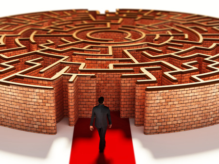Silhouette of a businessman standing at the door of round maze. 3D illustration.