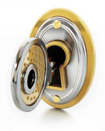Keyhole on the lock isolated on white background. 3D illustration.