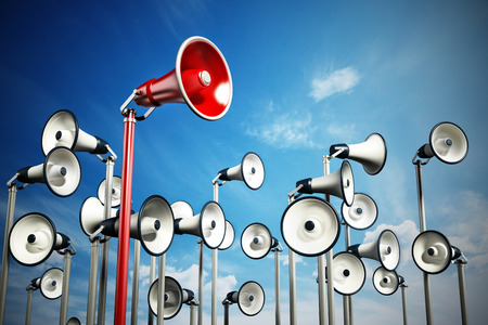 Red megaphone covering higher ground stands out among others. 3D illustration. Stock Photo