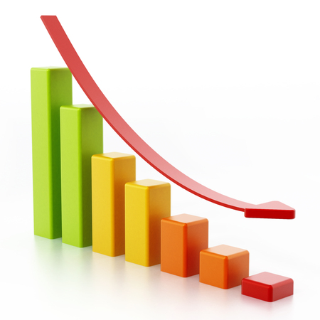 Stat bars and falling arrow showing a downward trend. 3D illustration.