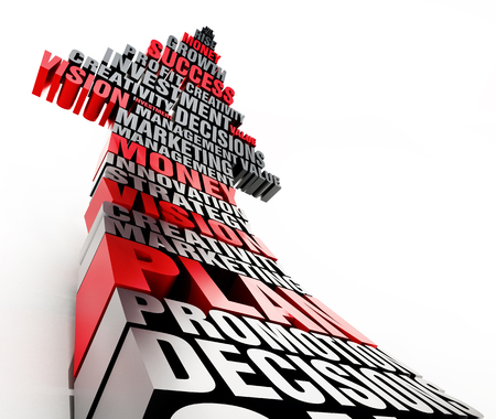 Rising arrow consisting of arranged words. Business and success concept. 3D illustration. Stock Photo