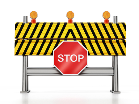 Road block with stop sign isolated on white background. 3D illustration.