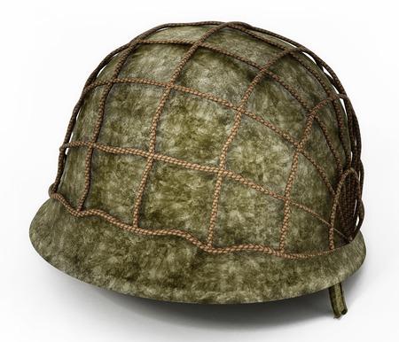 World War II helmet isolated on white background. 3D illustration.