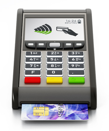 POS machine and credit card isolated on white background. 3D illustration.