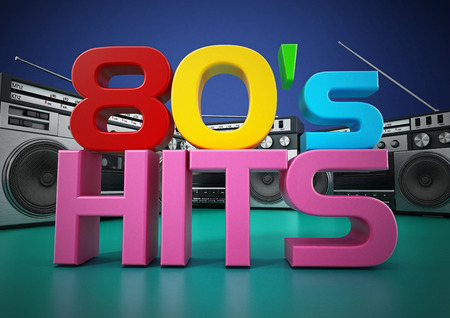 Vintage cassette player and 80s hits text. 3D illustration.