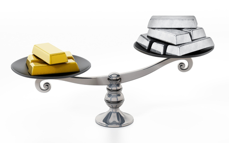 Gold and silver ingots standing on two sides of a balanced scale. 3D illustration. Imagens