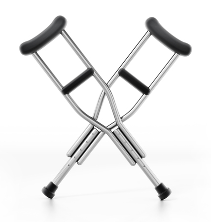 Crutches isolated on white background. 3D illustration.