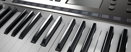 Contemporary generic design music keyboard. 3D illustration.