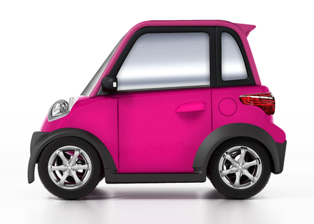 Small cute car isolated on white background. 3D illustration.