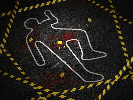 Crime scene of a murder case. 3D illustration.