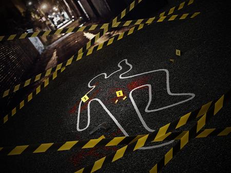 Escena del crimen de un caso de asesinato. Ilustración 3D.