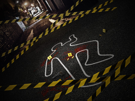 Tatort eines Mordfalls. 3D-Darstellung.