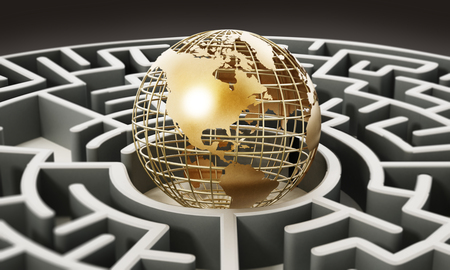 Wire earth standing at the center of the round maze. 3D illustration. Stock Photo