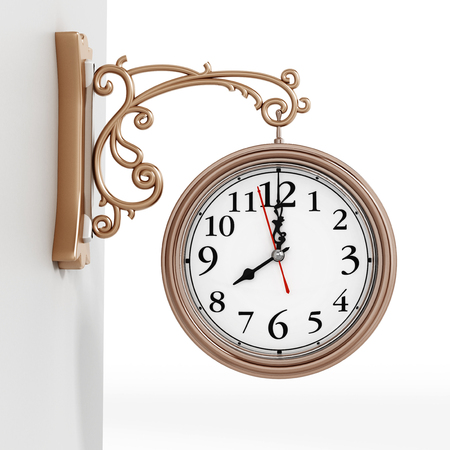 Vintage wall clock isolated on white background. 3D illustration.