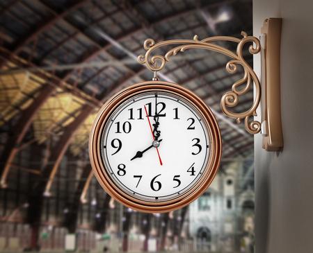 Vintage wall clock on the train station. 3D illustration.
