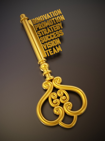 Vintage gold key with business and success related words. 3D illustration.