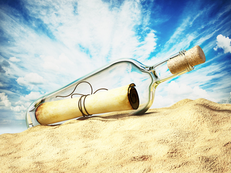 Message in a bottle standing on the beach sand. 3D illustration.