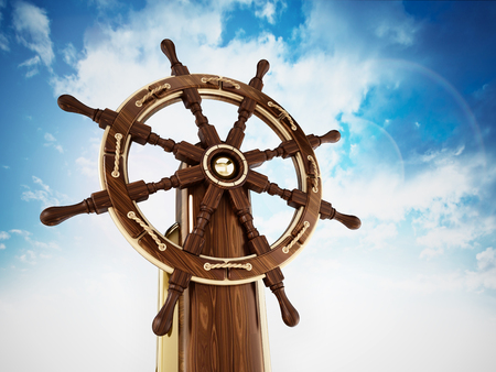 Ship wheel against blue sky background. 3D illustration. Stock Photo
