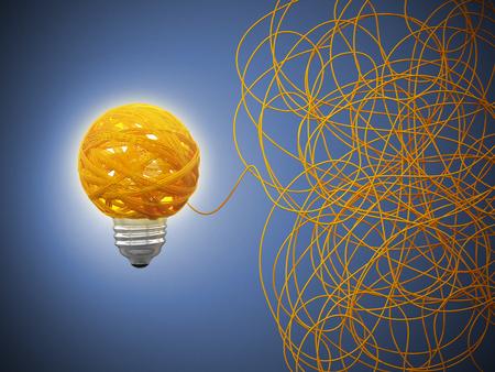 Tangled rope forming a lightbulb on blue background. 3D illustration.