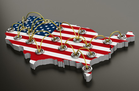 Network of travel points on usa map. 3D illustration. Stock Photo