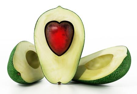 Heart shaped avocados isolated on white background. 3D illustration. Stock Photo