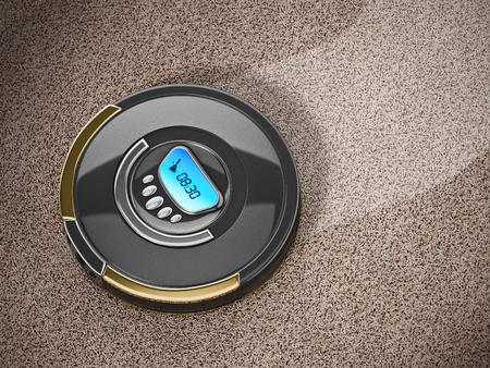 Automated vacuum cleaner on carpet. 3D illustration.