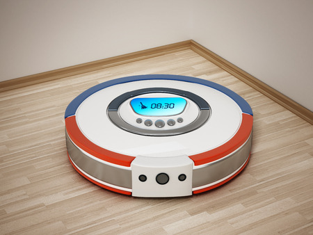 Automated vacuum cleaner on wooden floor. 3D illustration.