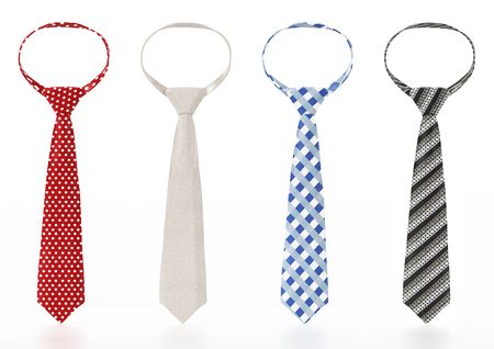 Set of neckties with various textures. 3D illustration.