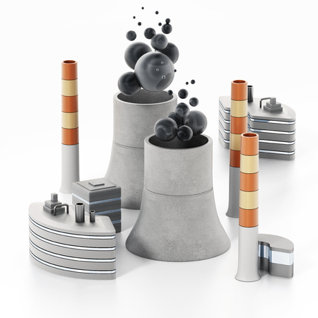 Nuclear plant isolated on white background. 3D illustration.