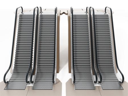 Escalator isolated on white background. 3D illustration.