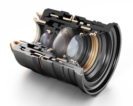3D structure of a professional lens. 3D illustration.