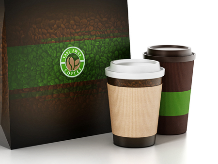 Take away coffee cup and paper bag isolated on white. 3D illustration.