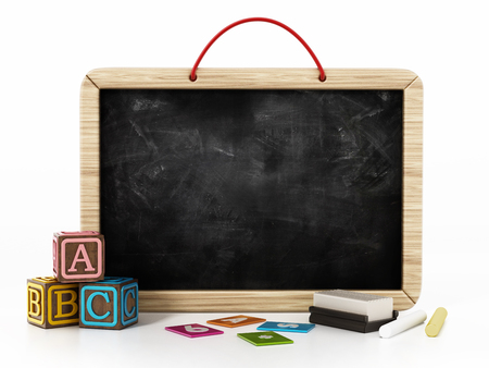 Toy blackboard, education cubes, two chalks and eraser isolated on white background. 3D illustration.