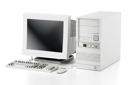 Generic vintage 90s style computer isolated on white background. 3D illustration. Stock Photo