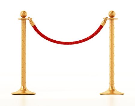 Velvet rope and golden barriers isolated on white background. 3D illustration.