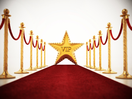Star, red carpet and velvet ropes isolated on white background.