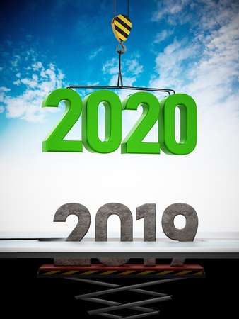 2020 number carried by crane replaces 2019. 3D illustration.