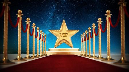 Star, red carpet and velvet ropes against night background. Stock Photo