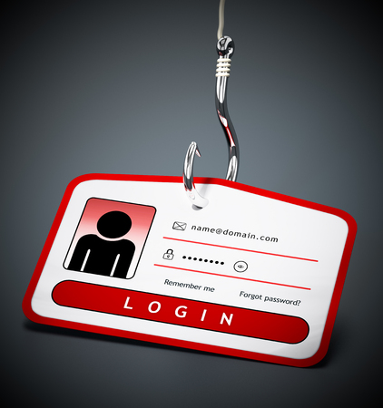Hook on ID card with login credentials. 3D illustration.