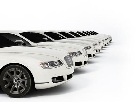 Luxusautoflotte bestehend aus generischem markenlosem Design. 3D-Darstellung.